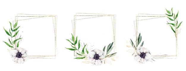 Три золотых рамки, украшенные акварельными цветочными элементами и золотыми растениями и золотом