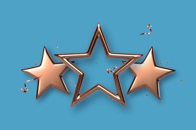 3つの金色または青銅色の星。賞、受賞者のコンセプト。ベクトルイラスト