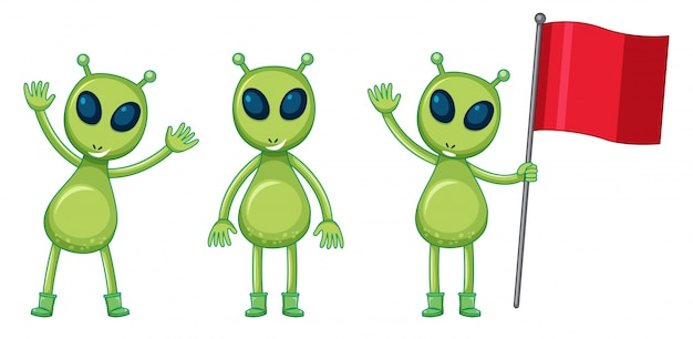 Three green aliens with red flag