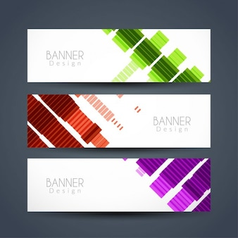 Абстрактный красочный баннер набор