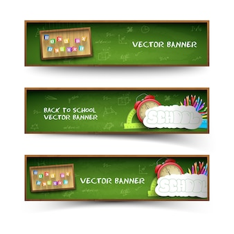 Three green school banner set