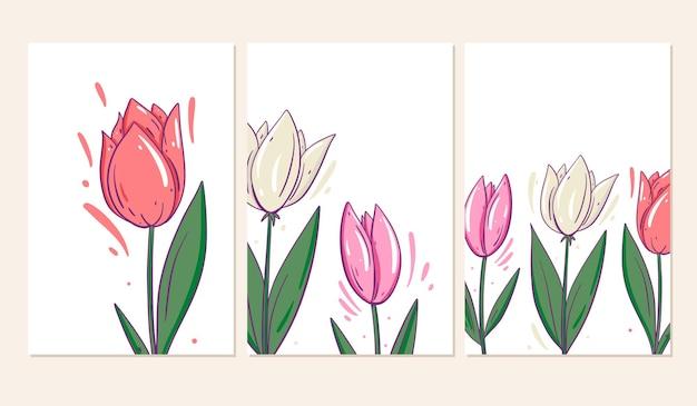 チューリップの花と3つのグリーティングカード。漫画のスタイル。