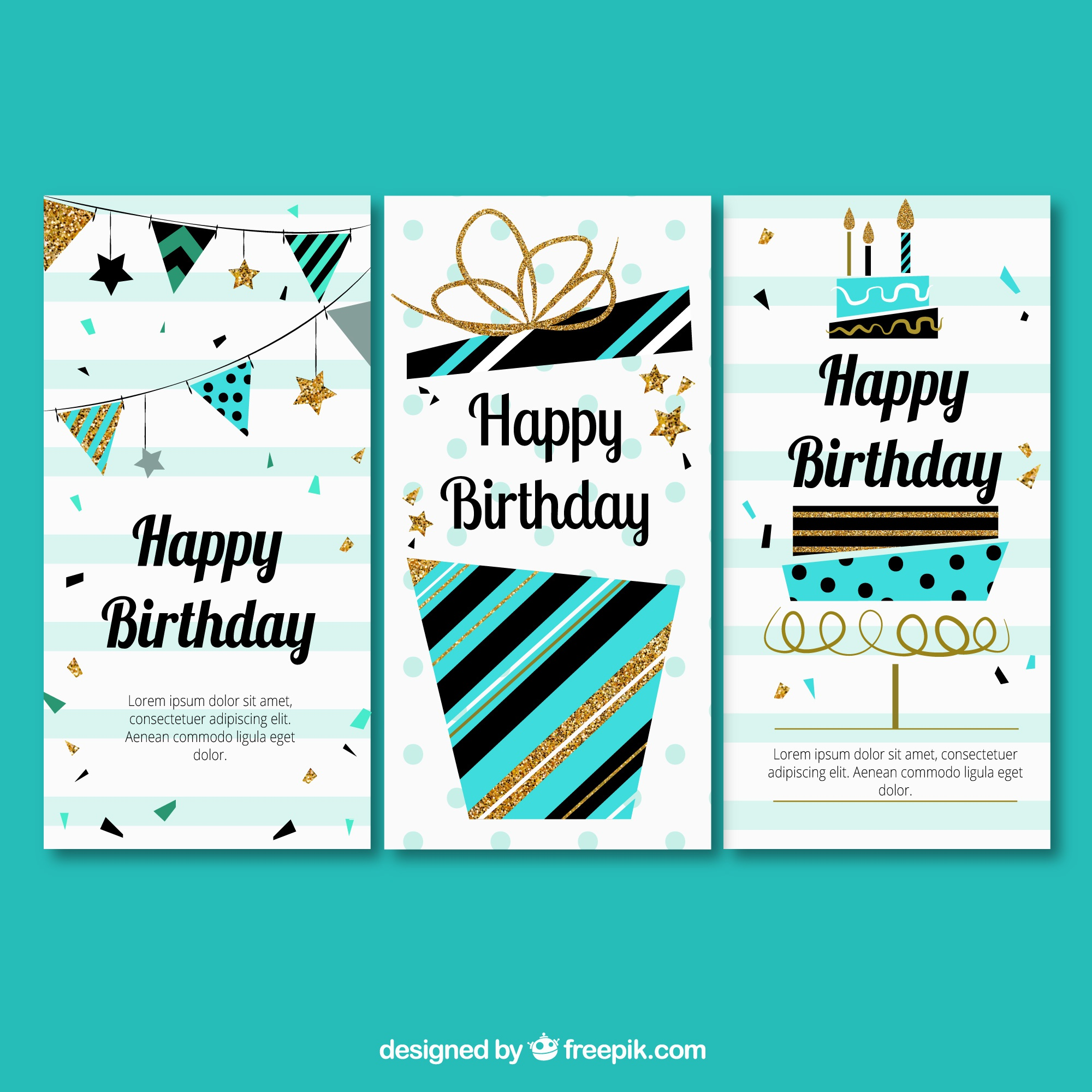 Three greeting of birthday in retro style