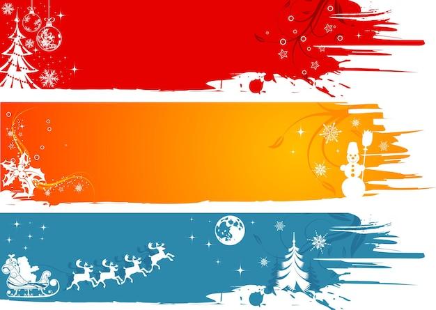 Три гранж новогодняя рамка с дедом морозом, снеговиком, снежинками, элементом дизайна, векторные иллюстрации