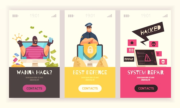 Three hacker vertical banner set with wanna hack best defense and system repair headlines vector illustration
