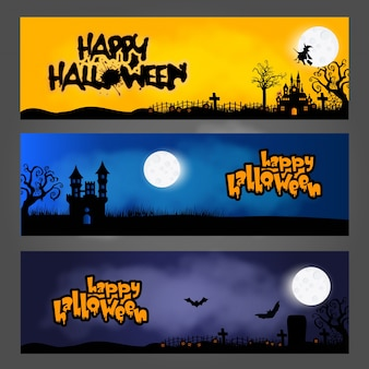 Three halloween banners/headers or footers, designed