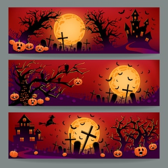 Three halloween banners