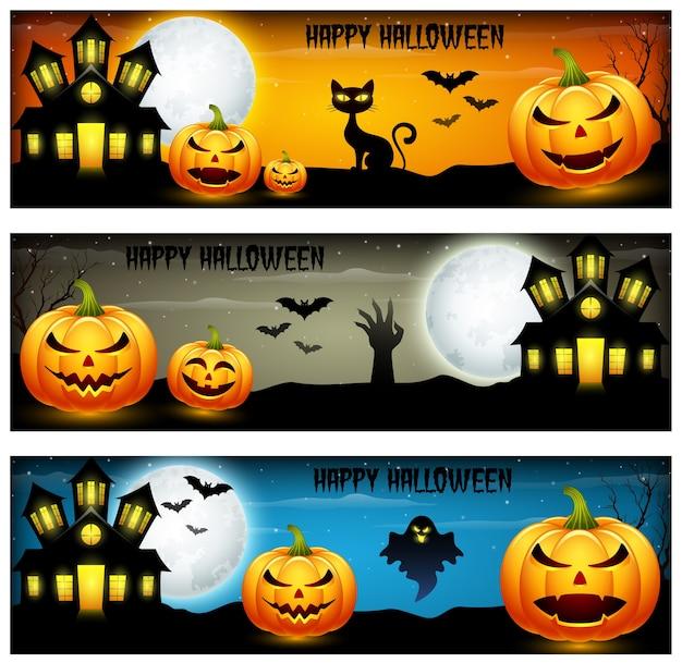 Три баннера хэллоуина