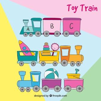 Three hand drawn trains of toys
