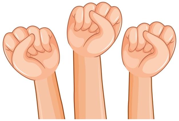 白い背景の上の3つの手の拳