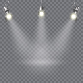 Three hanging spotlights design with direction of rays in one point