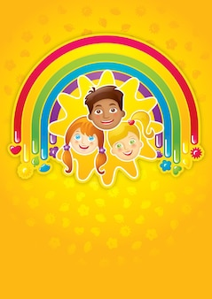 Three happy children in a rainbow and the sun - template, vector