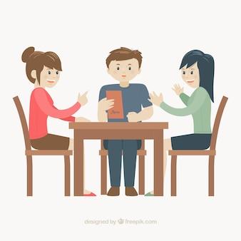 Three happy friends in a restaurant