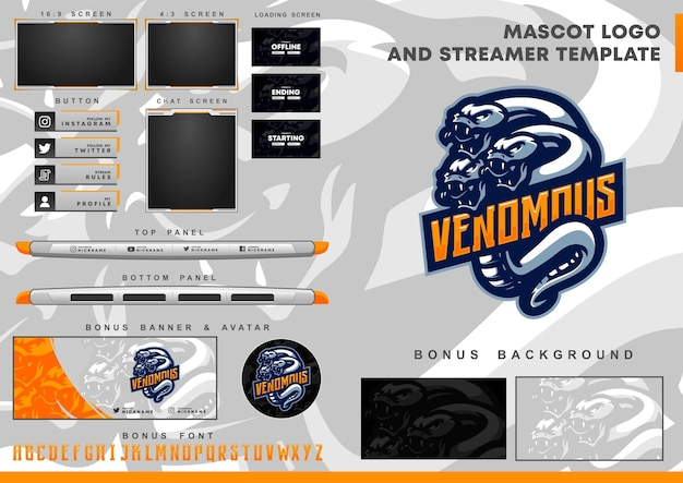 Three headed snake mascot logo and twitch overlay template
