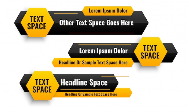 Three hexagonal style lower third banners design