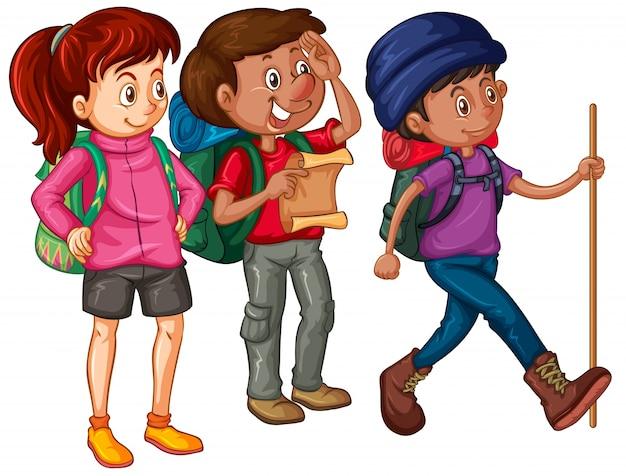 Три туриста с рюкзаками и картой