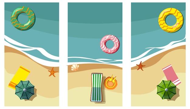 바다 해안과 긴 의자가 있는 3개의 휴일 배경