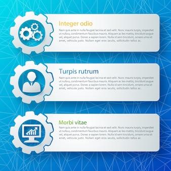 分離されたテキストフィールドで設定された3つの水平抽象ビジネスバナー