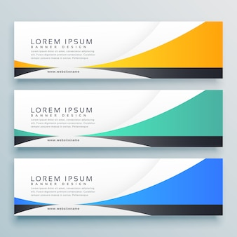 Three horizontal banners header vector design