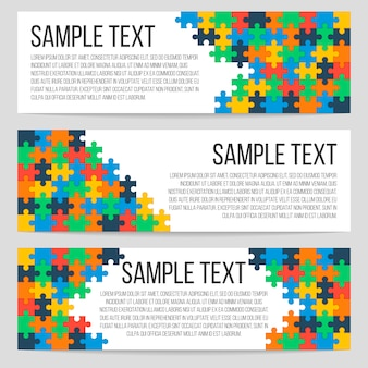 Three horizontal banners template with abstract puzzle