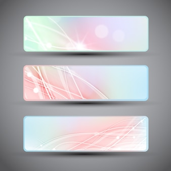 Three horizontal banners with abstract lines in pastel colors isolated with dark corners flat