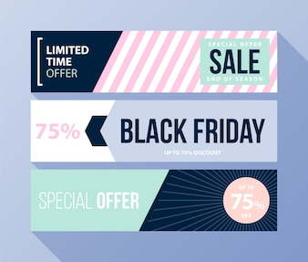 Three horizontal Black Friday banners with soft colors