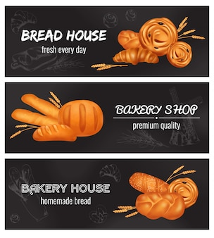 Три горизонтальных хлебобулочных реалистичных баннера с хлебным домиком каждый день свежий хлебобулочный магазин премиум качества и домашний хлеб заголовок иллюстрации
