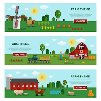 Three horizontal colored flat farm vegetables banner set with farm themes descriptions