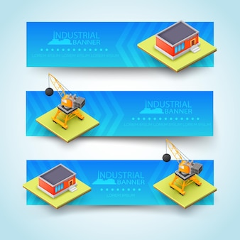 Three horizontal isolated and colored 3d building banner set with big headline at the center