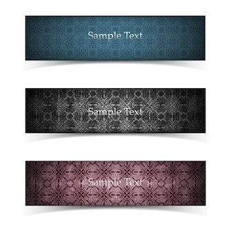 Three horizontal isolated grunge banner set in vintage style