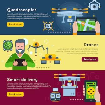 Un banner orizzontale di tre nuove tecnologie impostato su droni quadrocopter e temi di consegna intelligenti