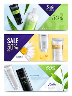 Three horizontal organic cosmetics ingredients realistic banner set with sale season new collection descriptions vector illustration