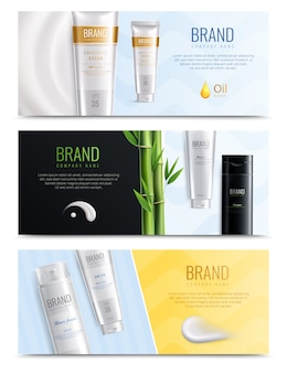 Three horizontal realistic cosmetic smears banner set with place for headline and tubes of cosmetics vector illustration