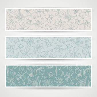 Three horizontal romantic flowers banner set with butterflies and different flowers