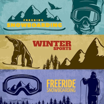 Three horizontal snowboarding banner set with freeride snowboarding winter sports descriptions vector illustration