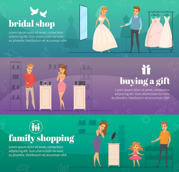 Three horizontal trying shop flat people banner set with bridal shop buying a gift and family shopping descriptions