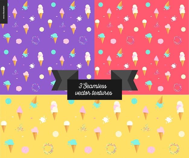 Three ice cream seamless patterns