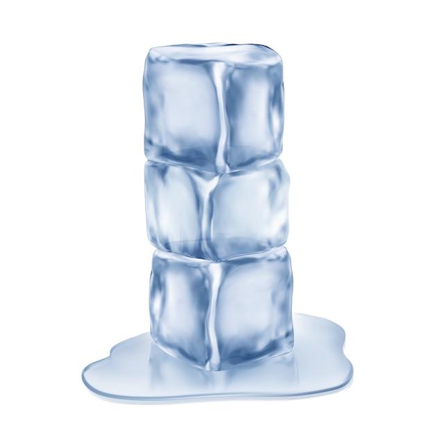 Три кубика льда, изолированные на белом фоне.