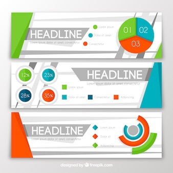 Three infographic banners with colored charts