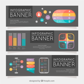 Three infographic banners with colored elements