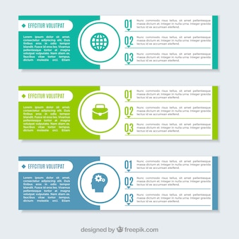 Three infographic banners with decorative icons