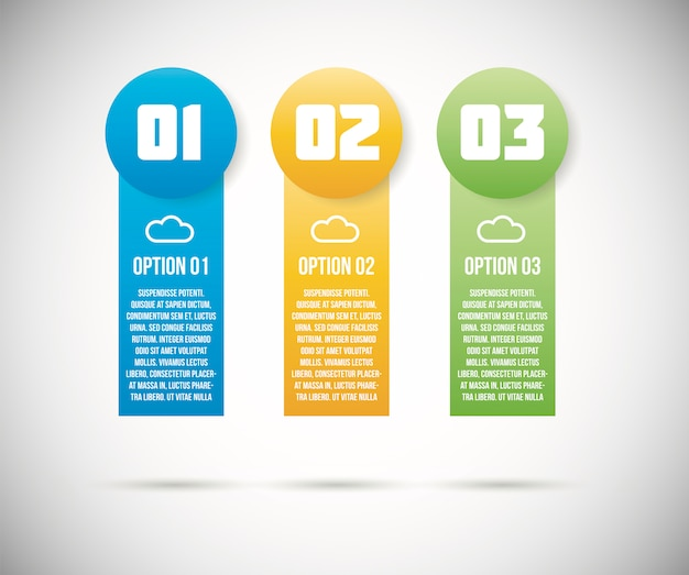 Three infographic option templates vector