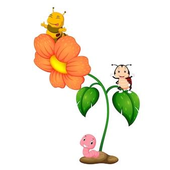 花の上に3つの昆虫