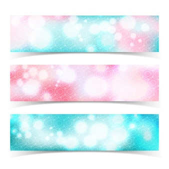 Three isolated multicolored horizontal abstract banner set with glow bokeh effect