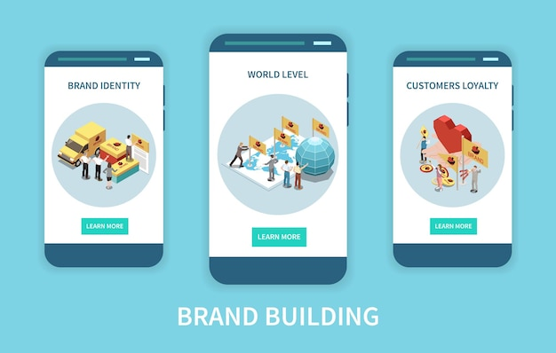 Three isometric app screens set with branding concepts