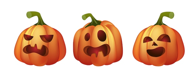 Three jack-o-lanterns illustration