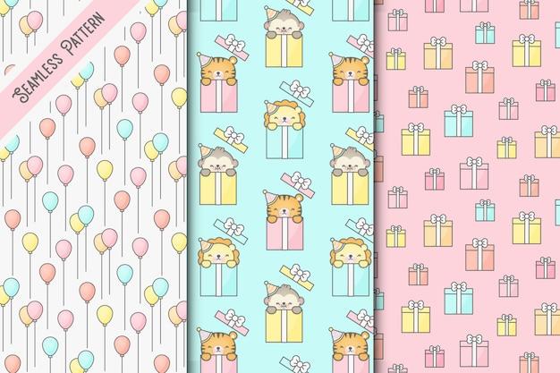 Three kawaii birthday seamless patterns set