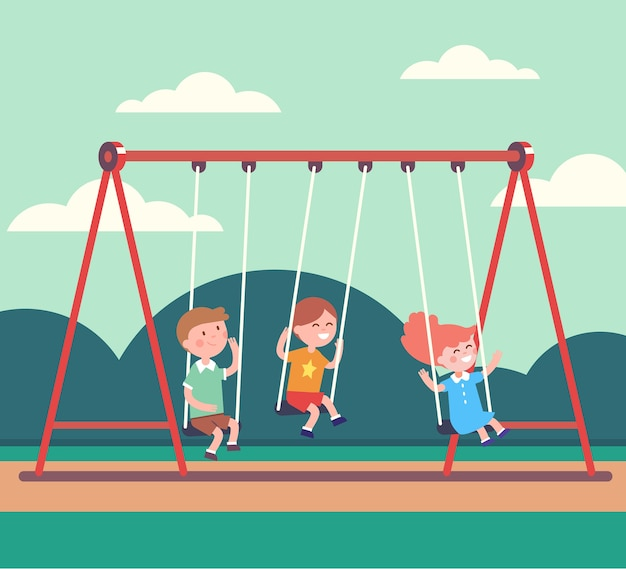 Three kids boys and girl swinging in public park