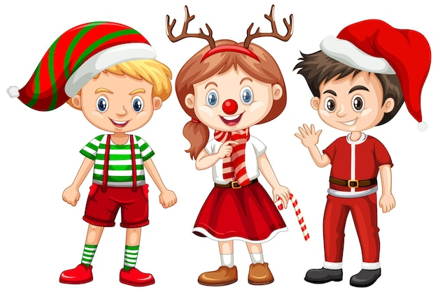 Three kids in christmas costume cartoon character
