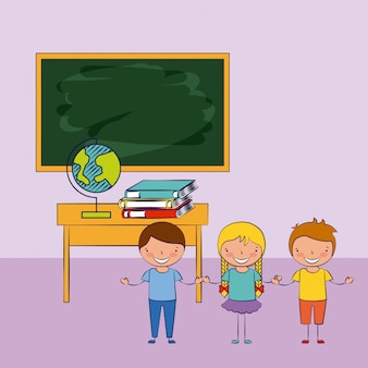 Three kids in a classroom with school elements illustration